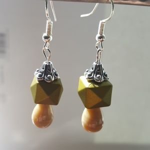Olive Green💚/Tan/ Silver Plated/ Cubic Earrings